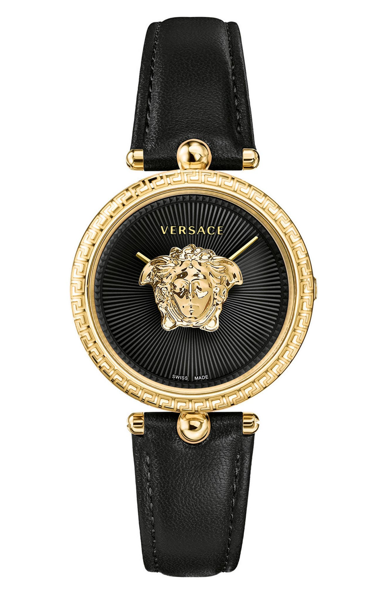 Image of Versace Women's Palazzo Empire Black Leather Watch, 34mm