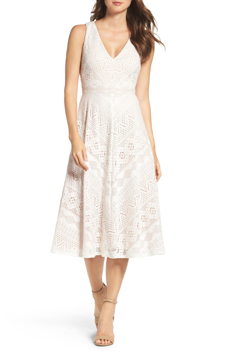 VINCE CAMUTO Lace Mitered Midi Dress, Main, color, 902