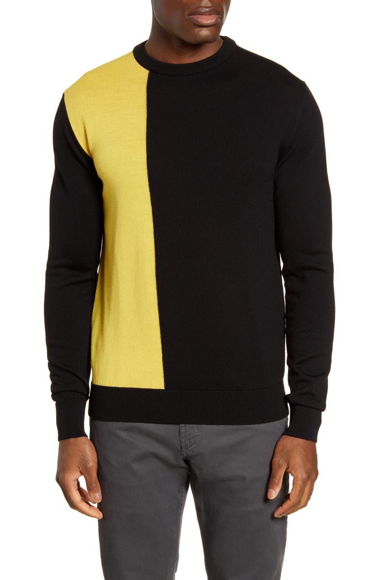 BUGATCHI Colorblock Wool Blend Sweater, Main, color, BLACK