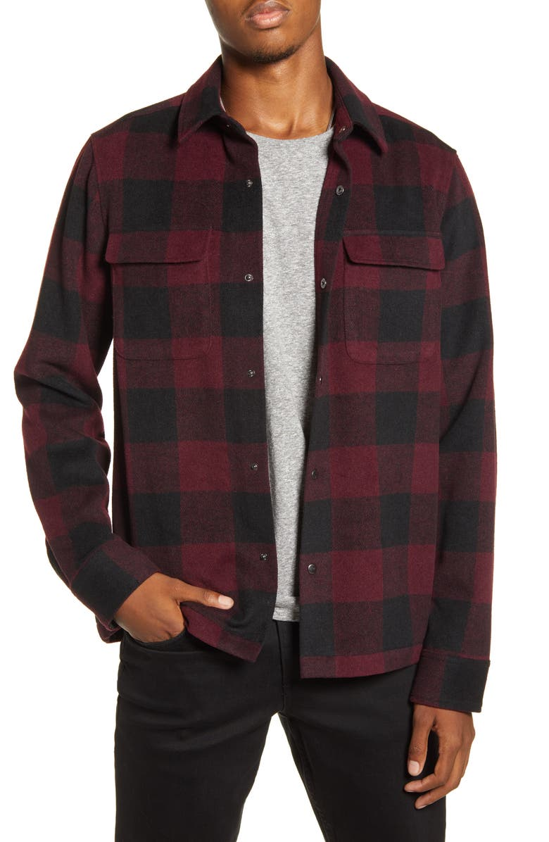 BP. x Alex Costa Brushed Flannel Snap-Up Plaid Shirt Jacket, Main, color, BURGUNDY BUFFALO CHECK