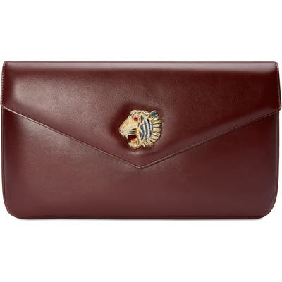 Gucci Leather Clutch - Burgundy