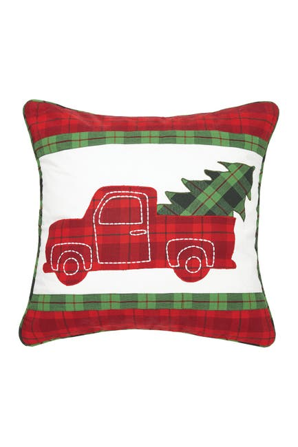 Image of Peking Handicraft Red/White Plaid Truck with Tree Applique Pillow