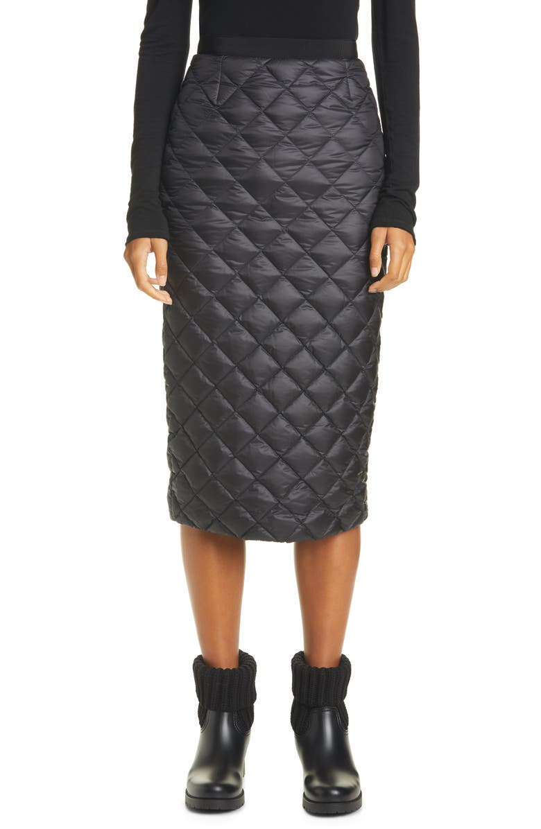 MONCLER Quilted Down Midi Skirt, Main, color, 999 BLACK