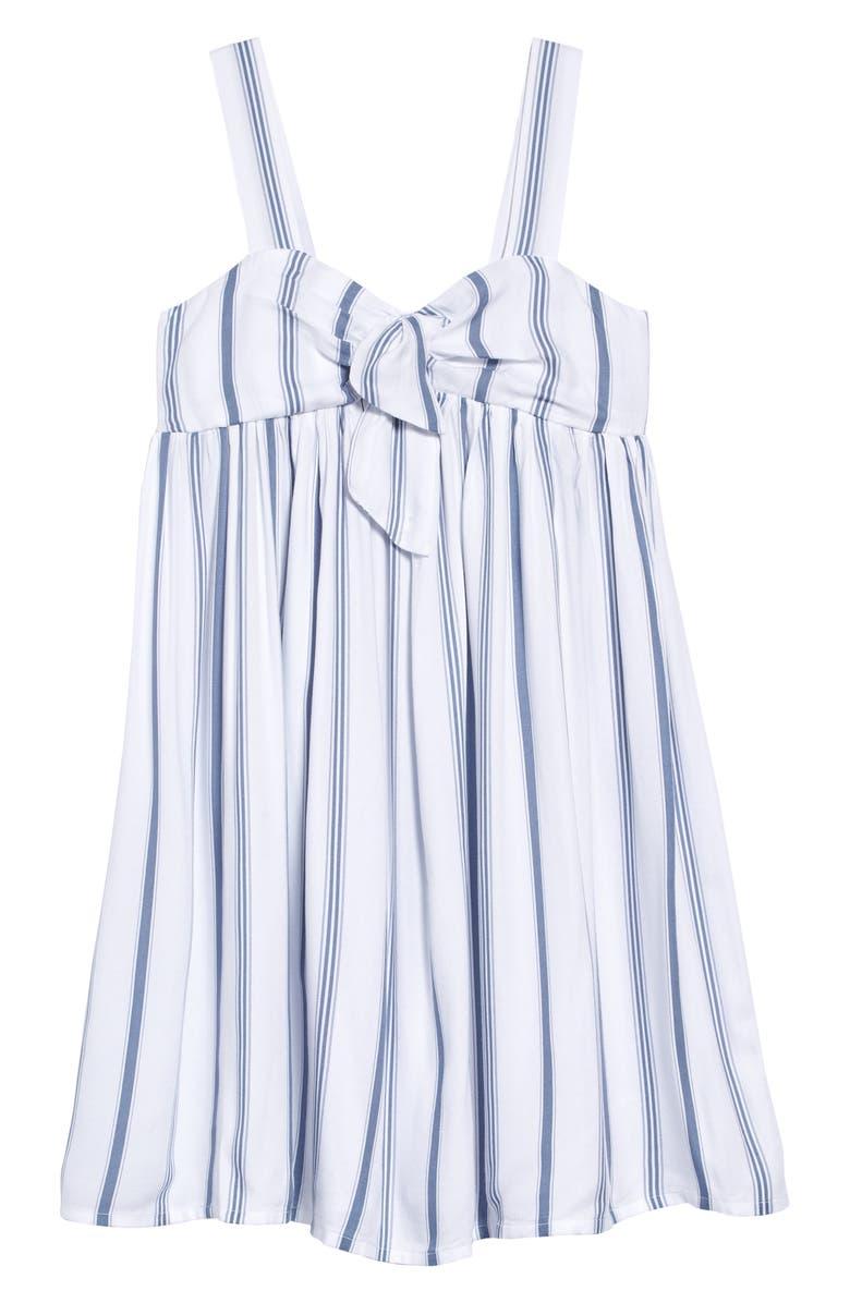 TREASURE & BOND Stripe Tie Front Sundress, Main, color, 100
