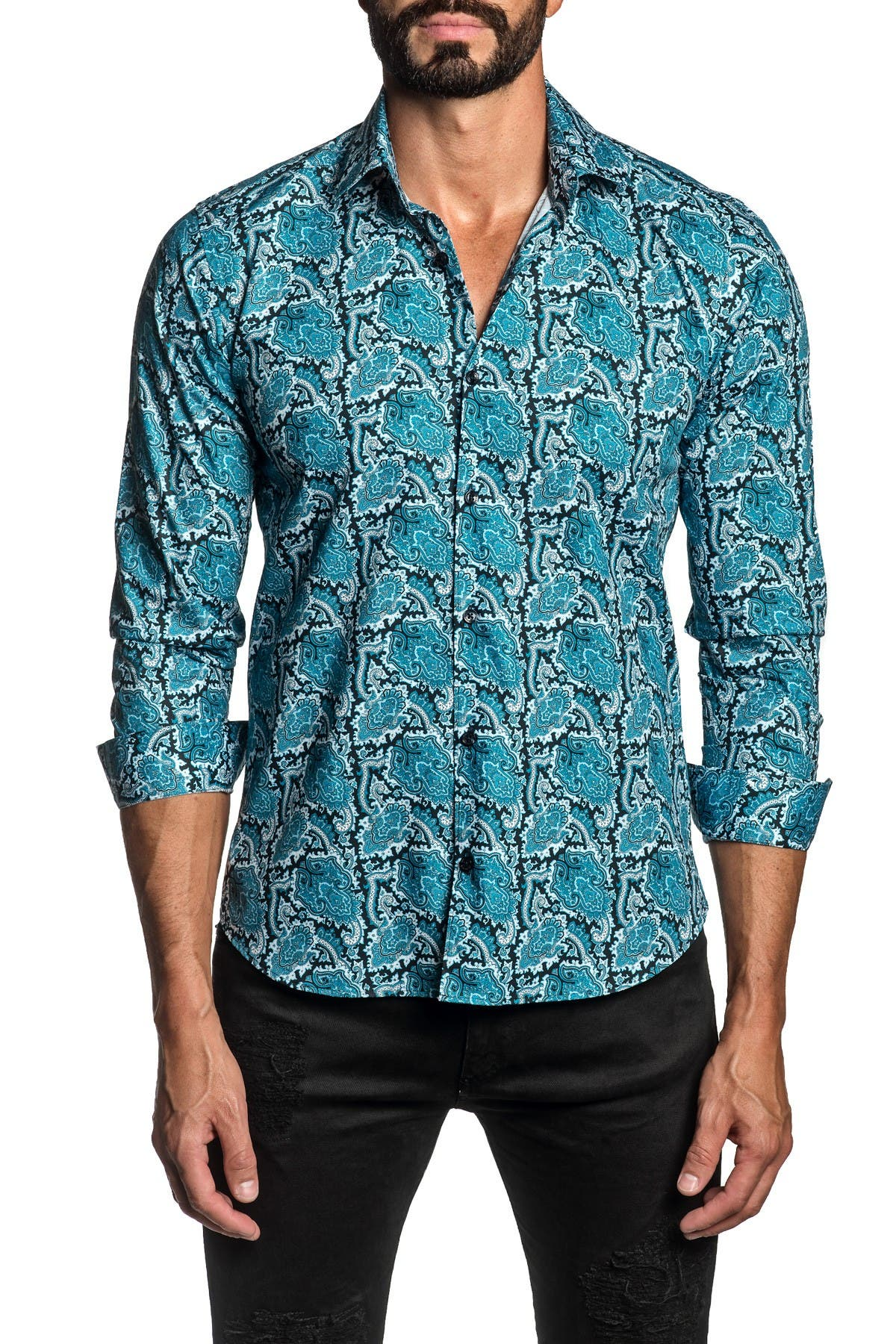 Jared Lang TRIM FIT BLUE PAISLEY DRESS SHIRT