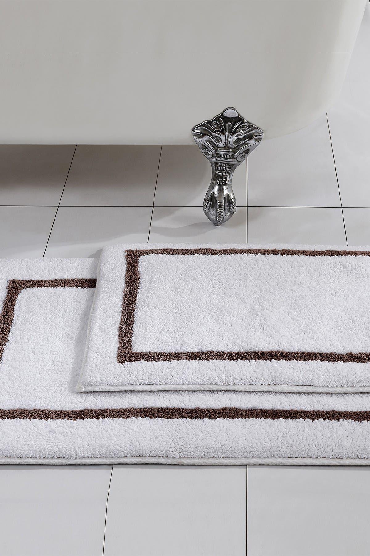 Image of Modern Threads Mocha Reversible Contrast Stripe Bath Mat 2-Piece Set