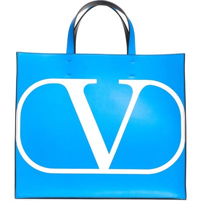 Valentino Garavani Vlogo Leather Tote - Blue
