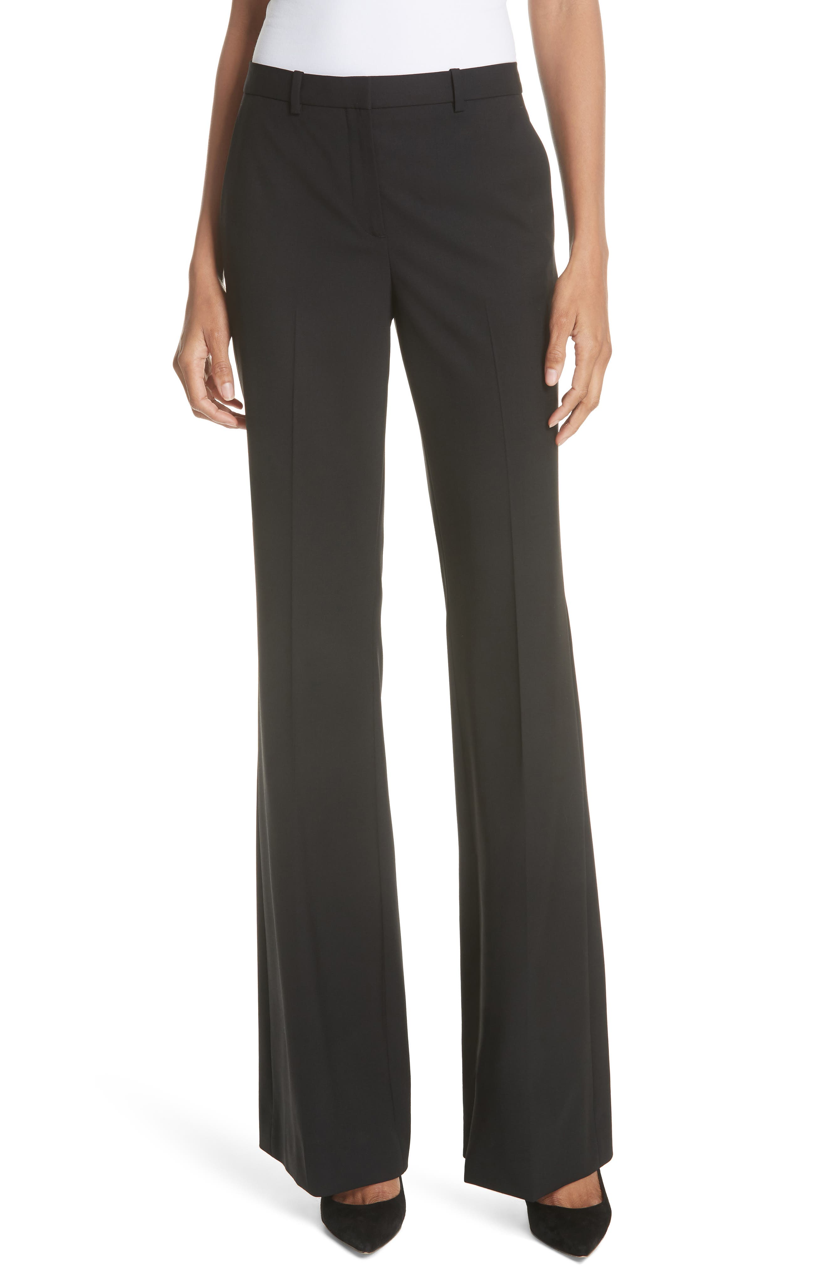Demitria 2 Stretch Wool Suit Pants, Main, color, BLACK