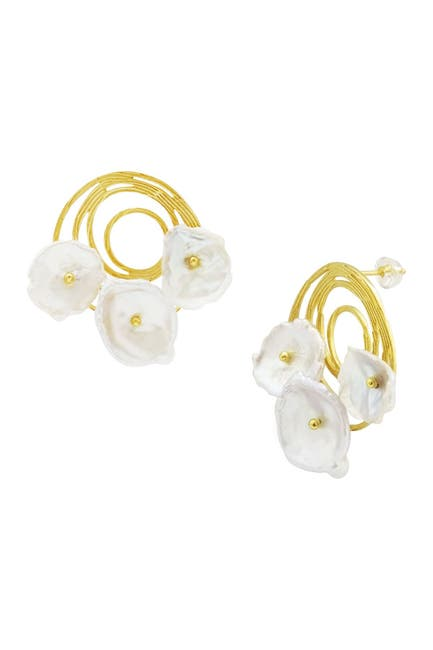 Image of Savvy Cie 18K Yellow Gold Vermeil Handmade Swirl Freshwater Coin Pearl Flower Drop Earrings