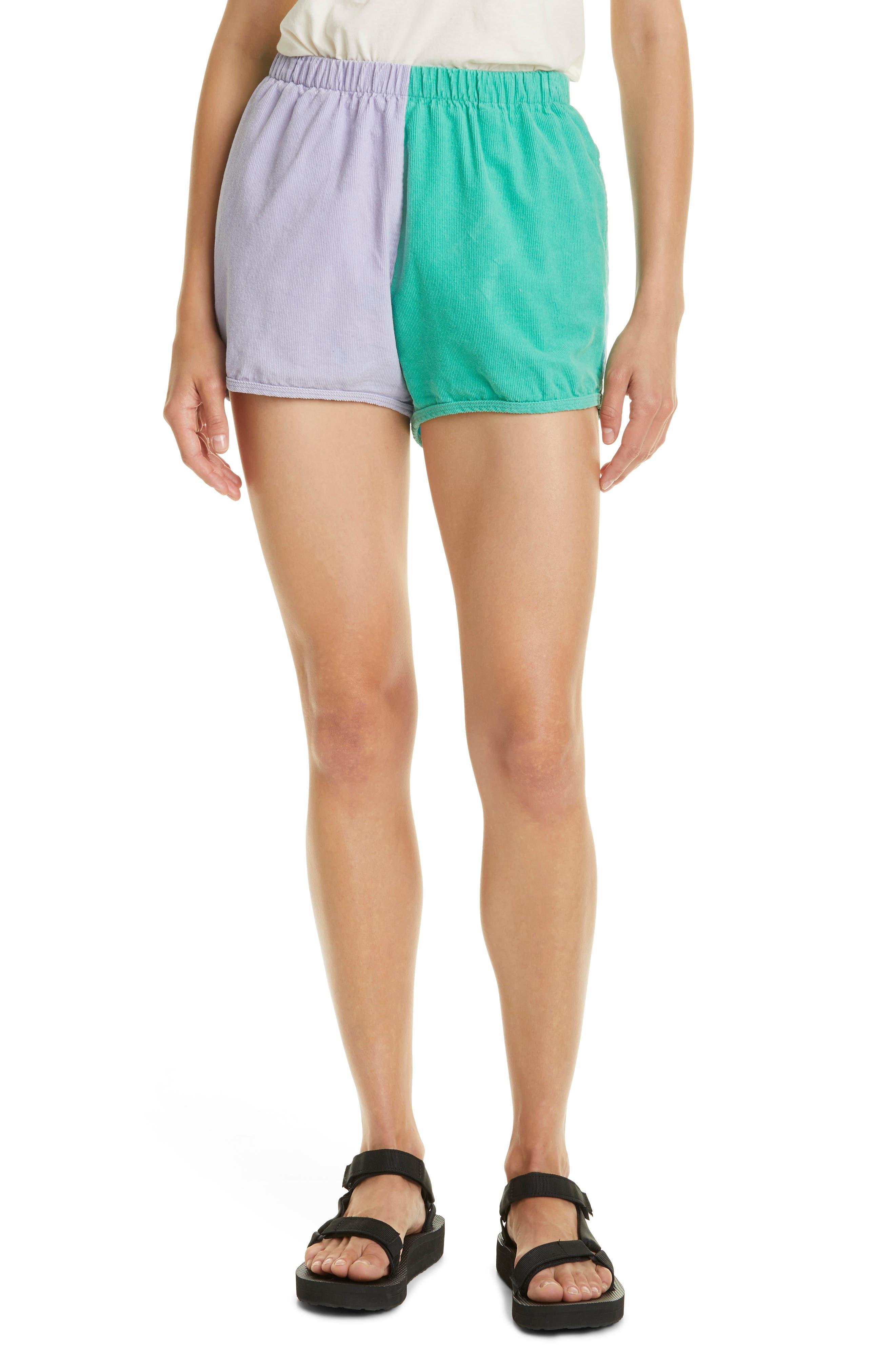 Colorblock Cotton Corduroy Shorts
