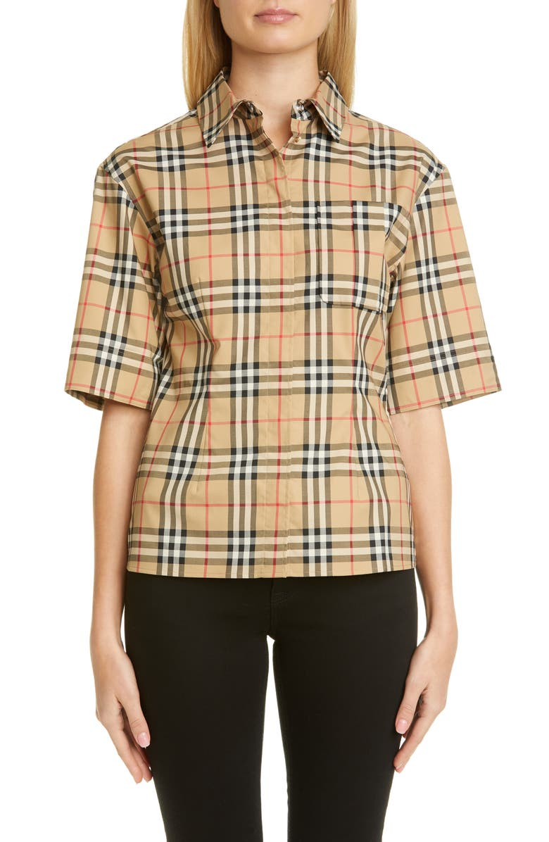 BURBERRY Eleanora Check Stretch Cotton Camp Shirt, Main, color, ARCHIVE BEIGE IP CHK