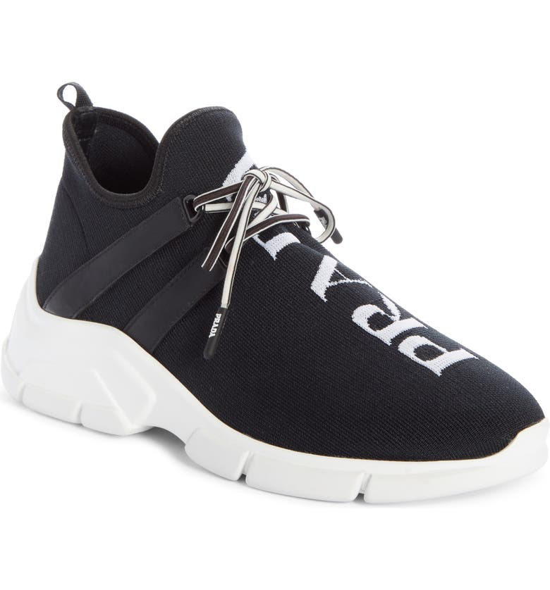 PRADA Knit Sock Sneaker, Main, color, BLACK/ WHITE