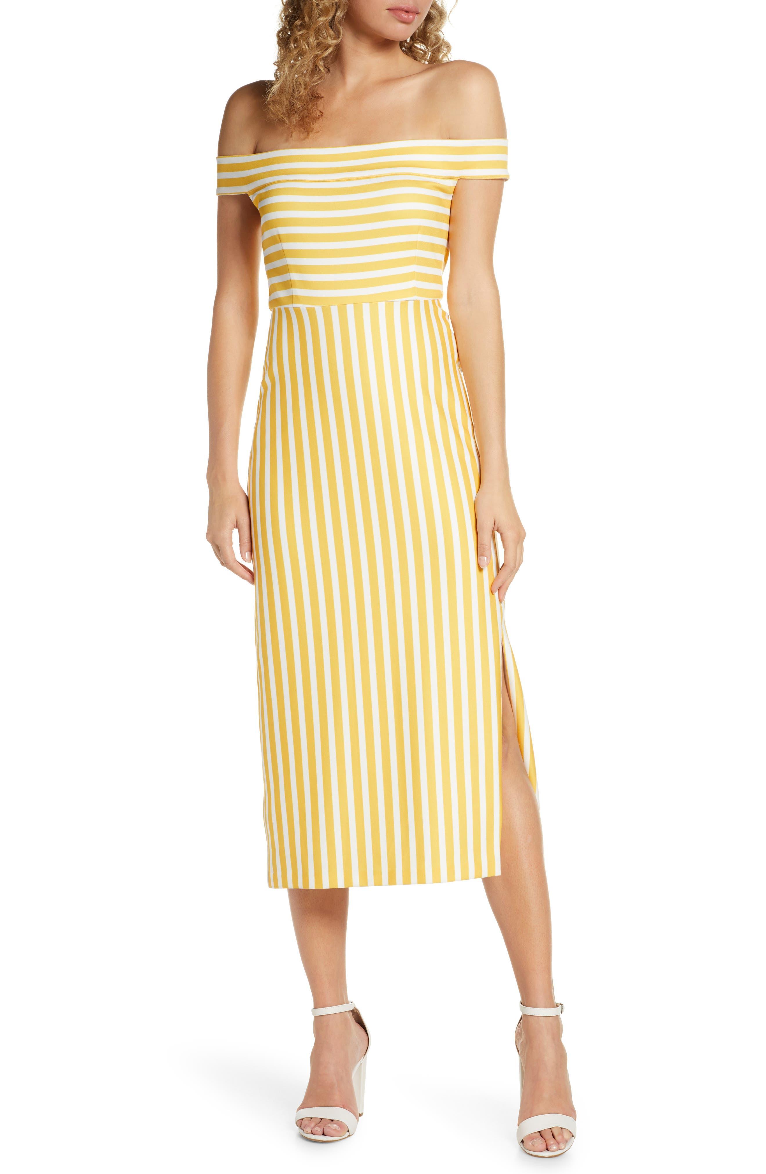 Avec Les Filles Off The Shoulder Stripe Midi Dress, Yellow