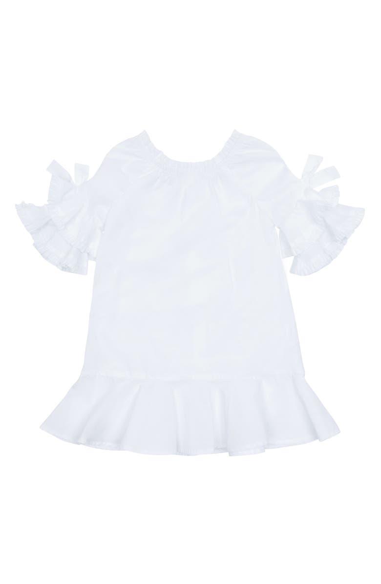 HABITUAL Girl Idalia Ruffle Sleeve Dress, Main, color, 100