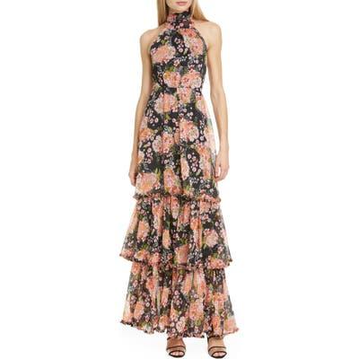 Bytimo Halter Neck Floral Chiffon Maxi Dress, Black