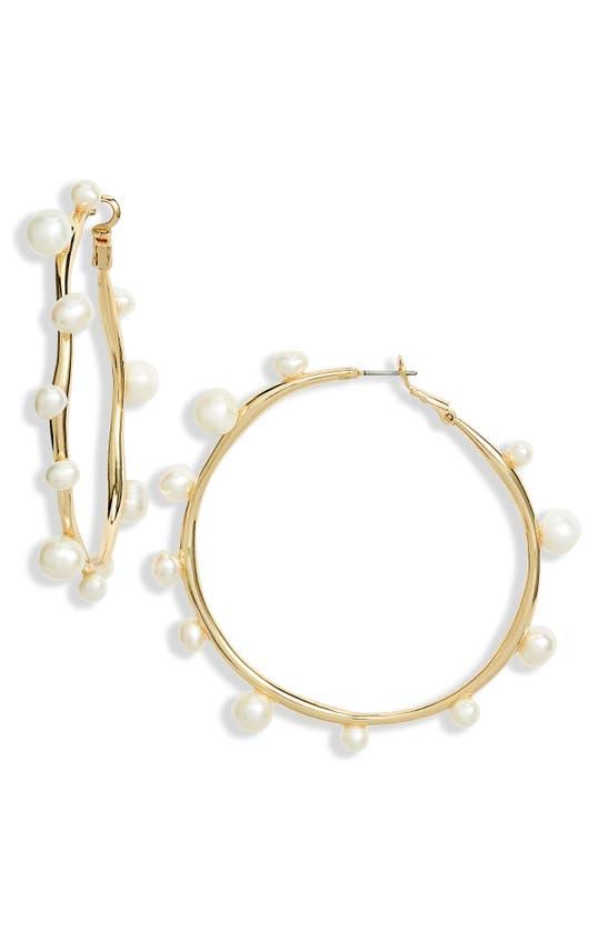 MIGNONNE GAVIGAN Earrings LARGE FRESHWATER PEARL HOOP EARRINGS