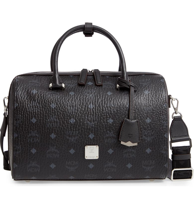 MCM Essential Boston Bag, Main, color, BLACK/ JET BLACK
