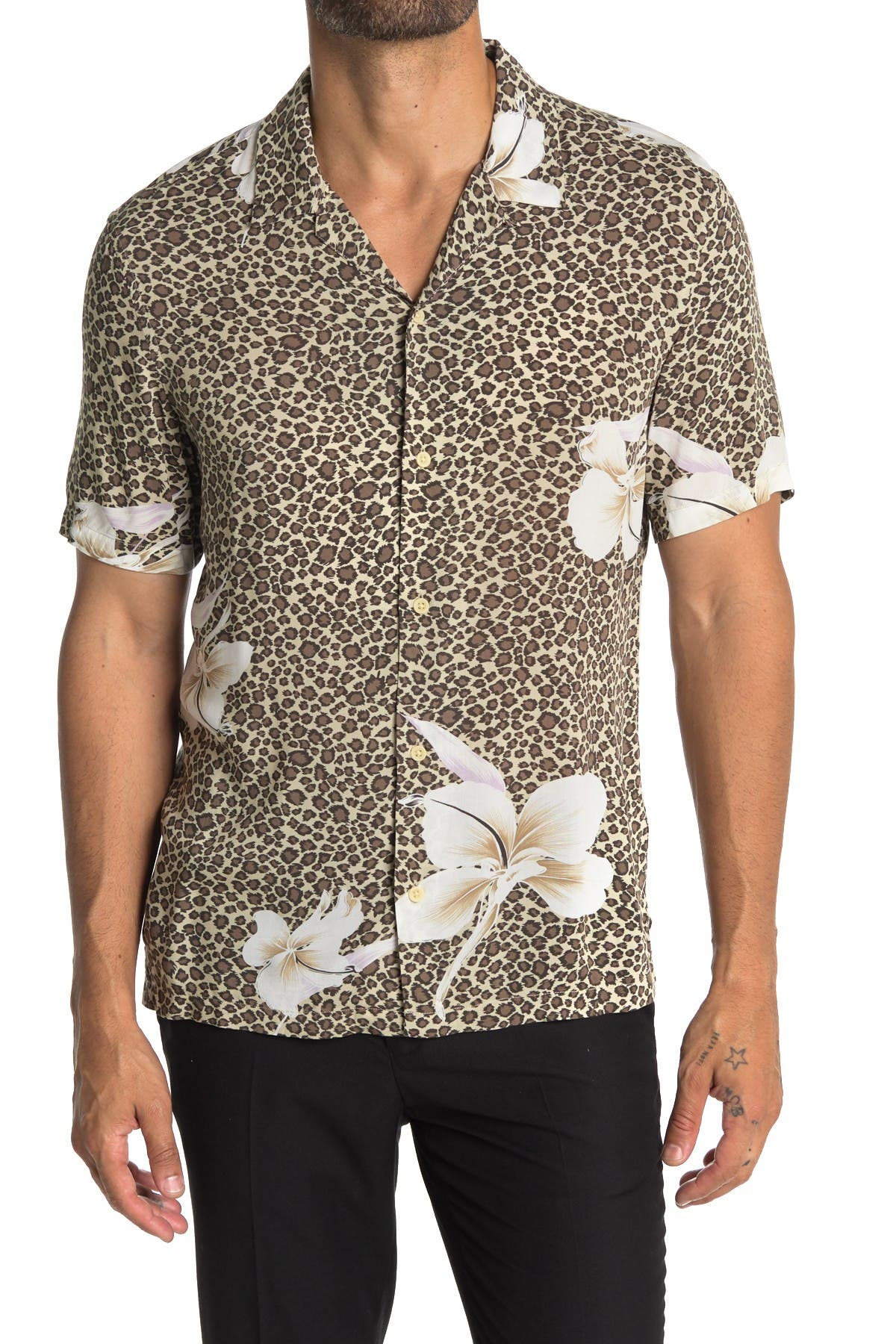 Image of ALLSAINTS Lily Leopard Short Sleeve Button Front Tailored Shirt
