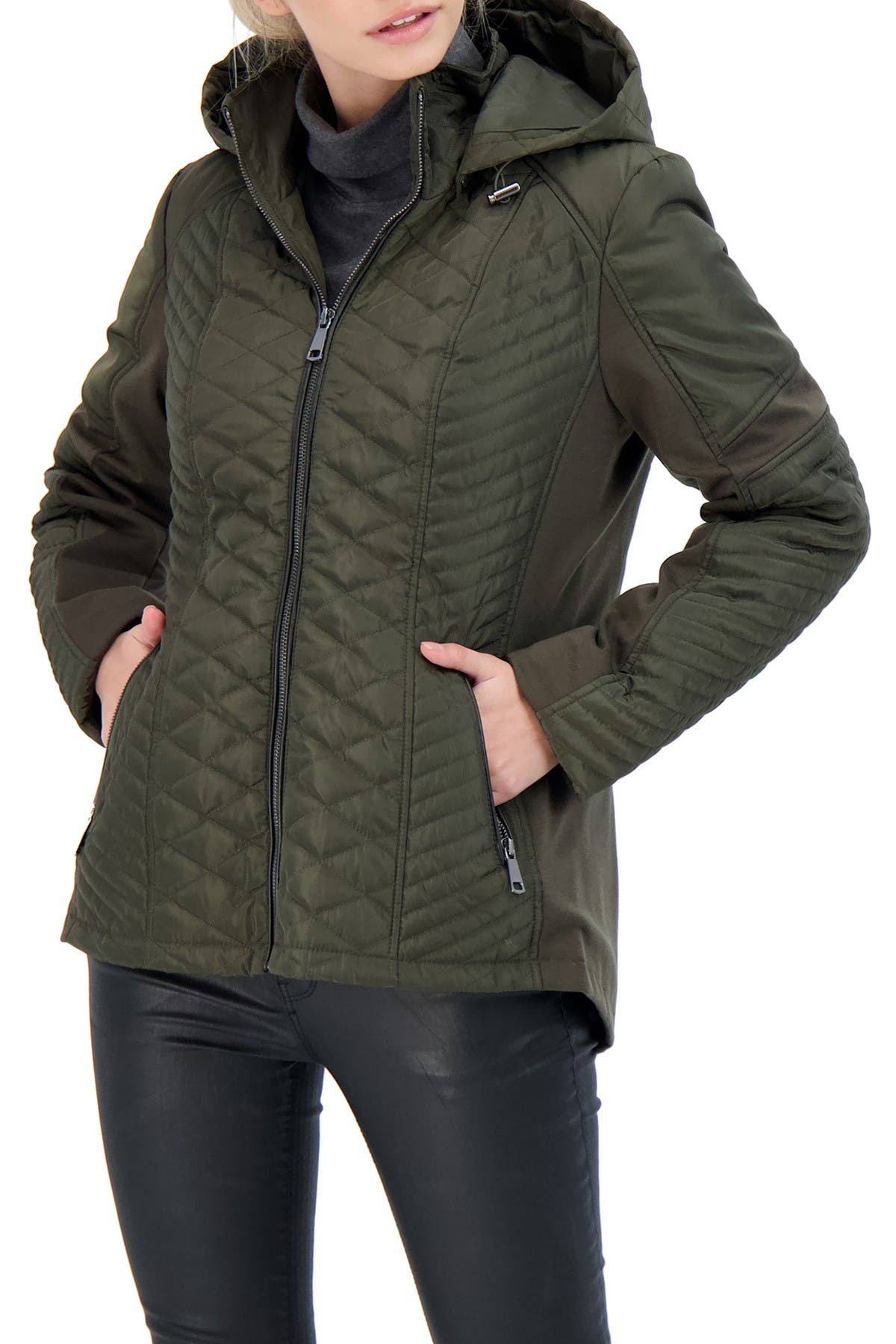 Image of Sebby Collection Hooded Quilted Jacket