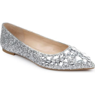 Jewel Badgley Mischka Ulanni Embellished Pointy Toe Glitter Flat, Metallic