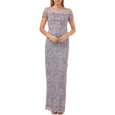 Js Collections Sequin Lace Gown, Purple