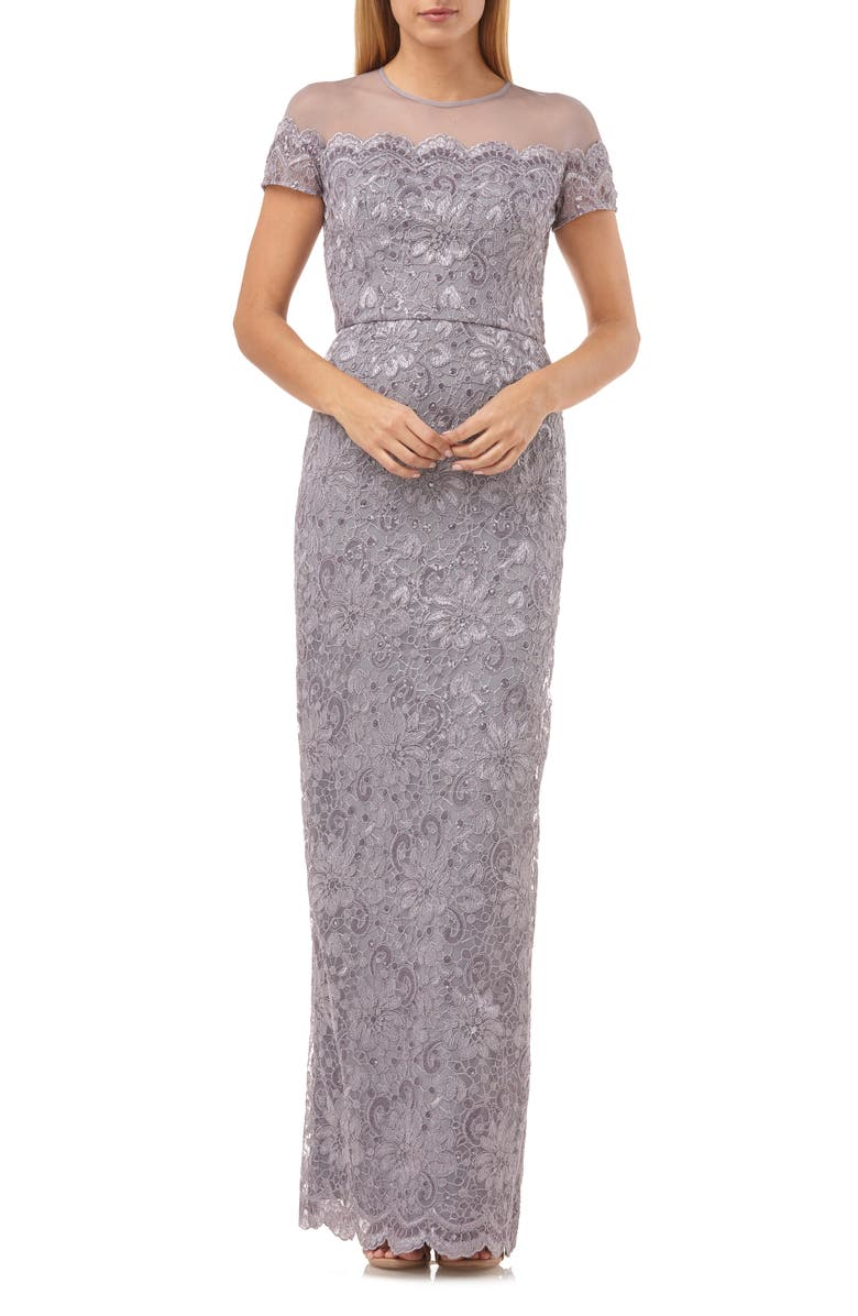 JS COLLECTIONS Sequin Lace Gown, Main, color, SMOKEY VIOLET