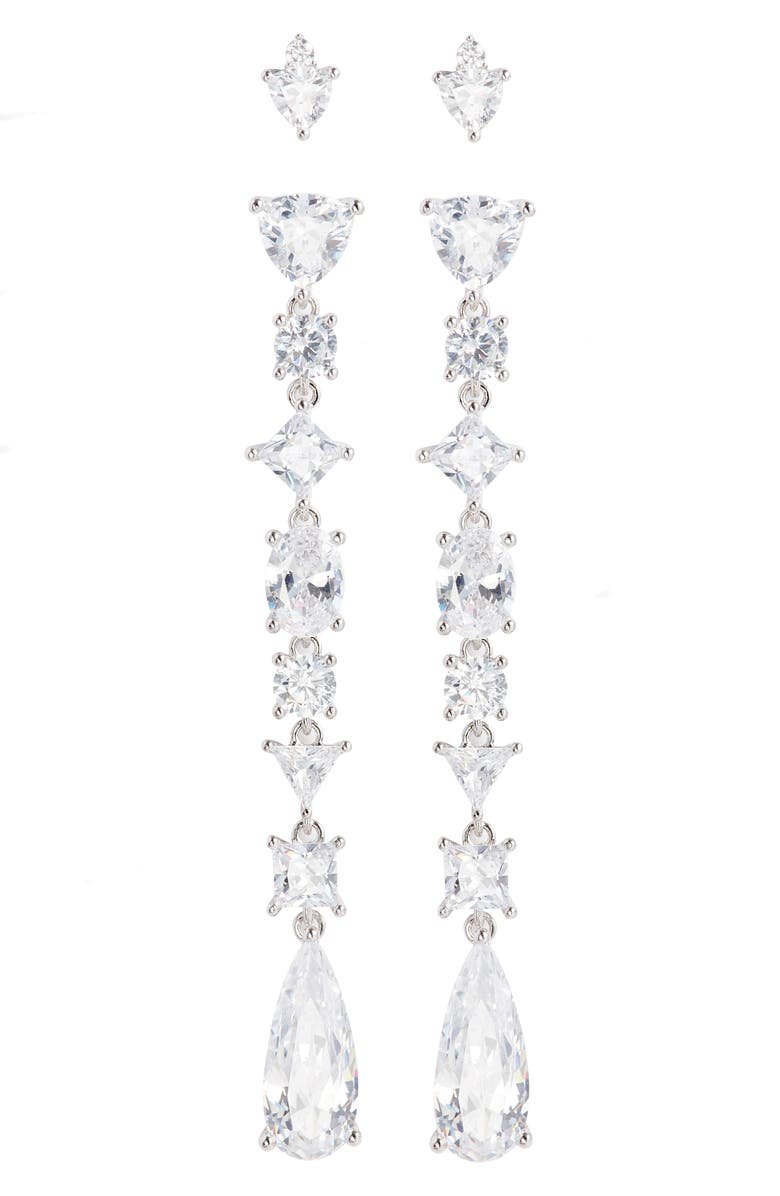 NORDSTROM Set of 4 Cubic Zirconia Stud and Drop Earrings, Main, color, 040
