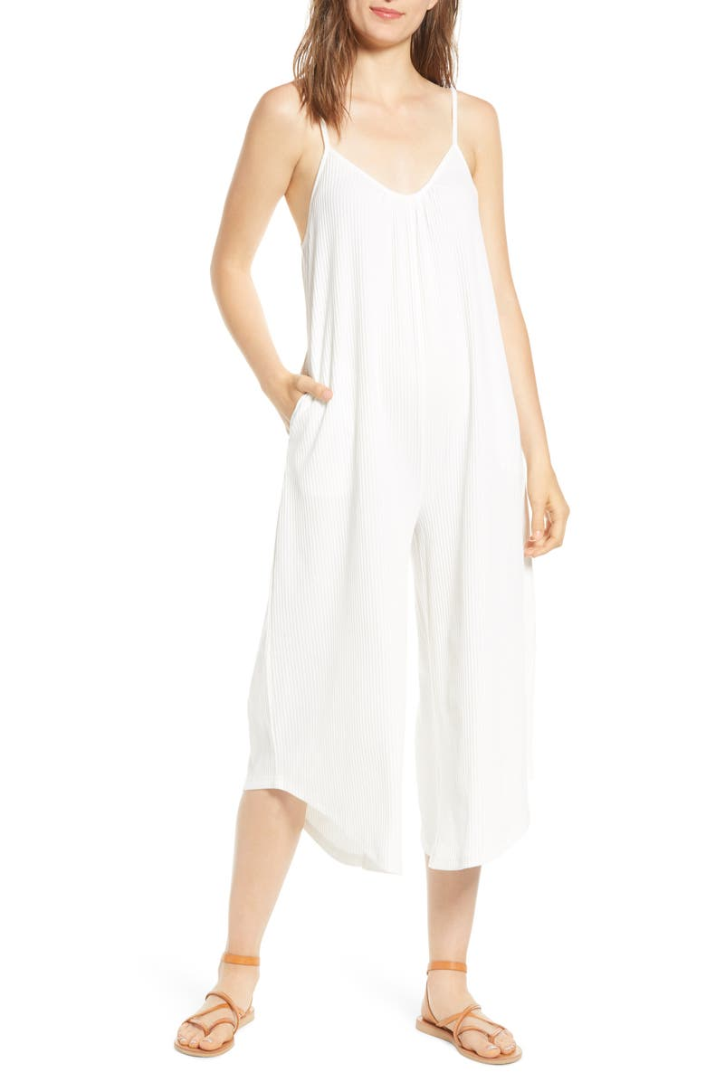 LIRA CLOTHING Alyssa Ribbed Jumpsuit, Main, color, IVORY