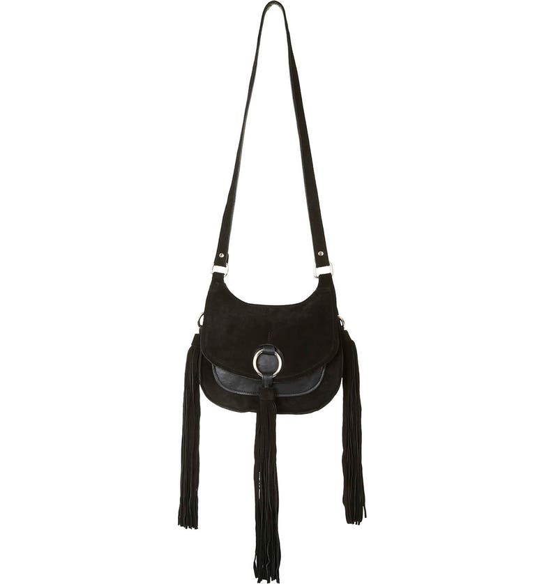 TOPSHOP 'Pegasus' Fringe Suede Crossbody Bag, Main, color, 001