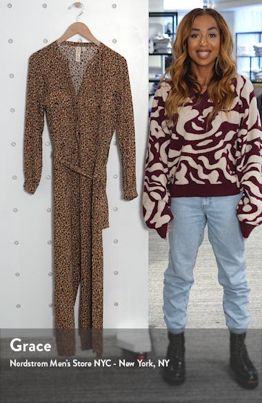 Neela Cheetah Print Long Sleeve Jumpsuit, sales video thumbnail