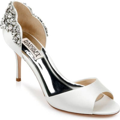 Badgley Mischka Celeste Peeptoe Pump- White