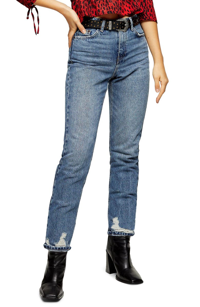TOPSHOP Ripped Hem Mom Jeans, Main, color, MID DENIM