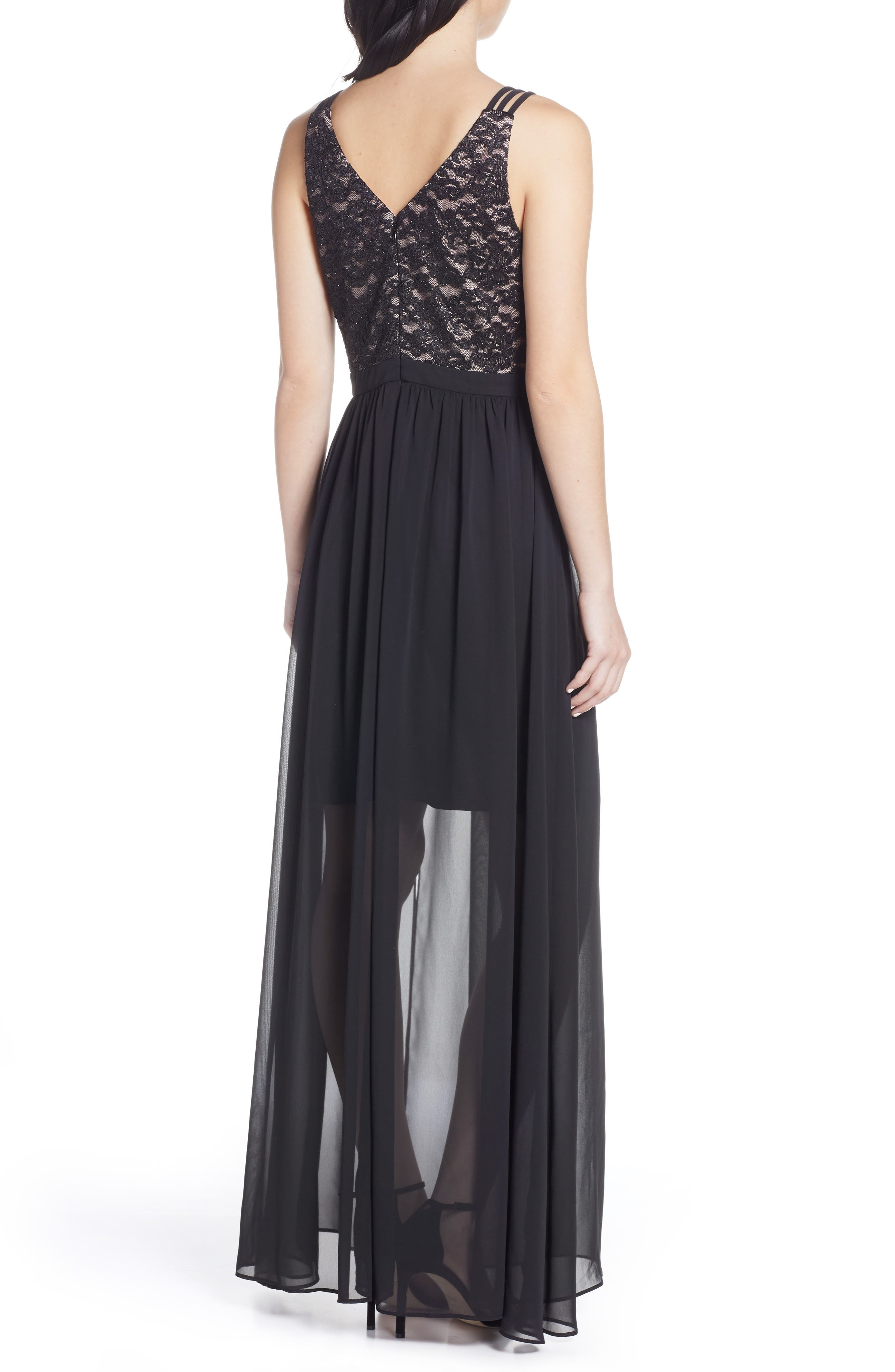 ,                             Strappy Lace Bodice Chiffon Gown,                             Alternate thumbnail 2, color,                             BLACK/ NUDE