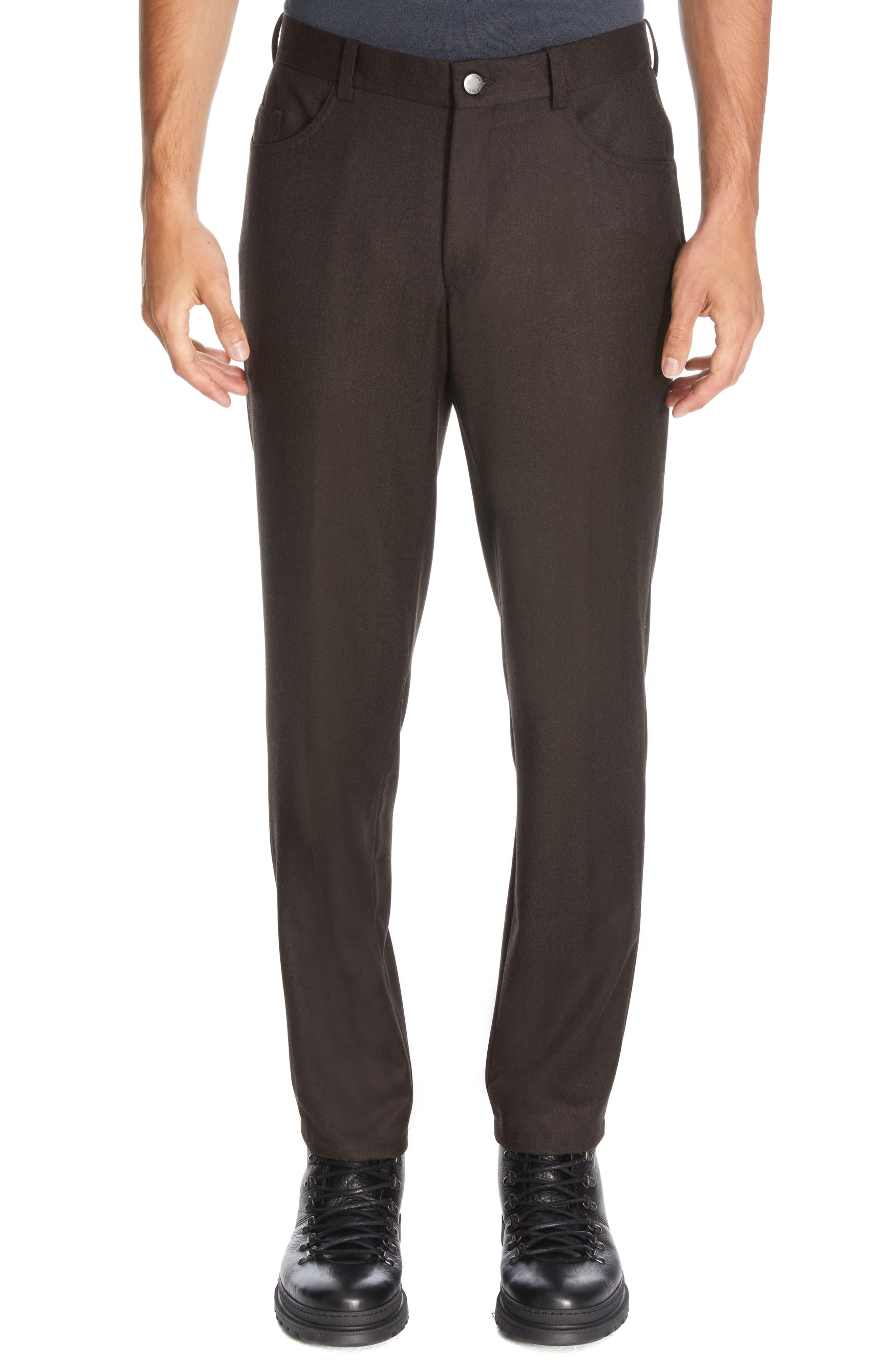 Sage Stretch Wool Flannel Five Pocket Pants
