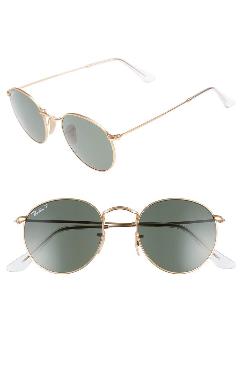RAY-BAN 50mm Round Polarized Sunglasses, Main, color, 719