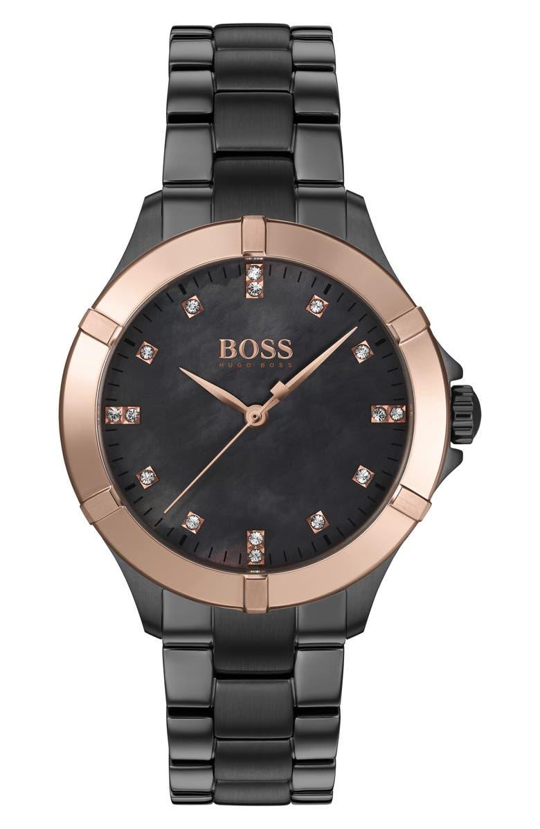 BOSS Mini Sport Bracelet Watch, 32mm, Main, color, GUNMETAL/ GREY MOP/ GOLD