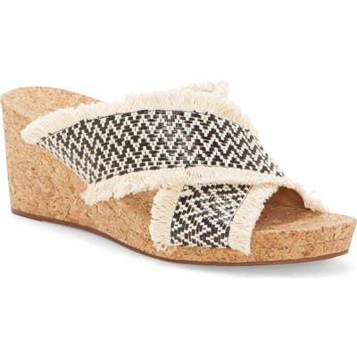Lucky Brand Khillian Woven Wedge Slide Sandal, Black