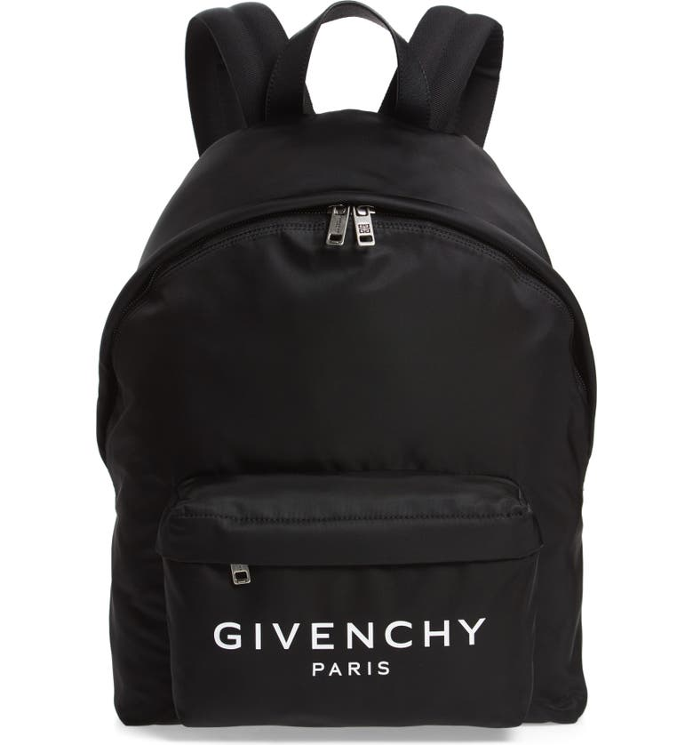 GIVENCHY Nylon Backpack, Main, color, BLACK/ WHITE