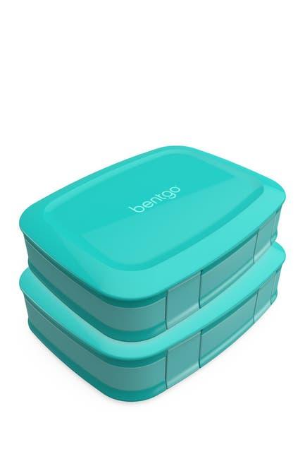 Image of BENTGO 2-Pack of Fresh Leak-Proof Versatile 4-Compartment Bento-Style Lunch Box - Aqua