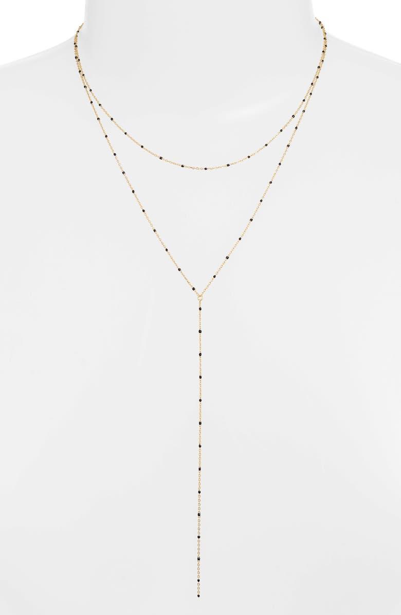 ARGENTO VIVO Enamel Bead Layer Y-Necklace, Main, color, BLACK/ GOLD