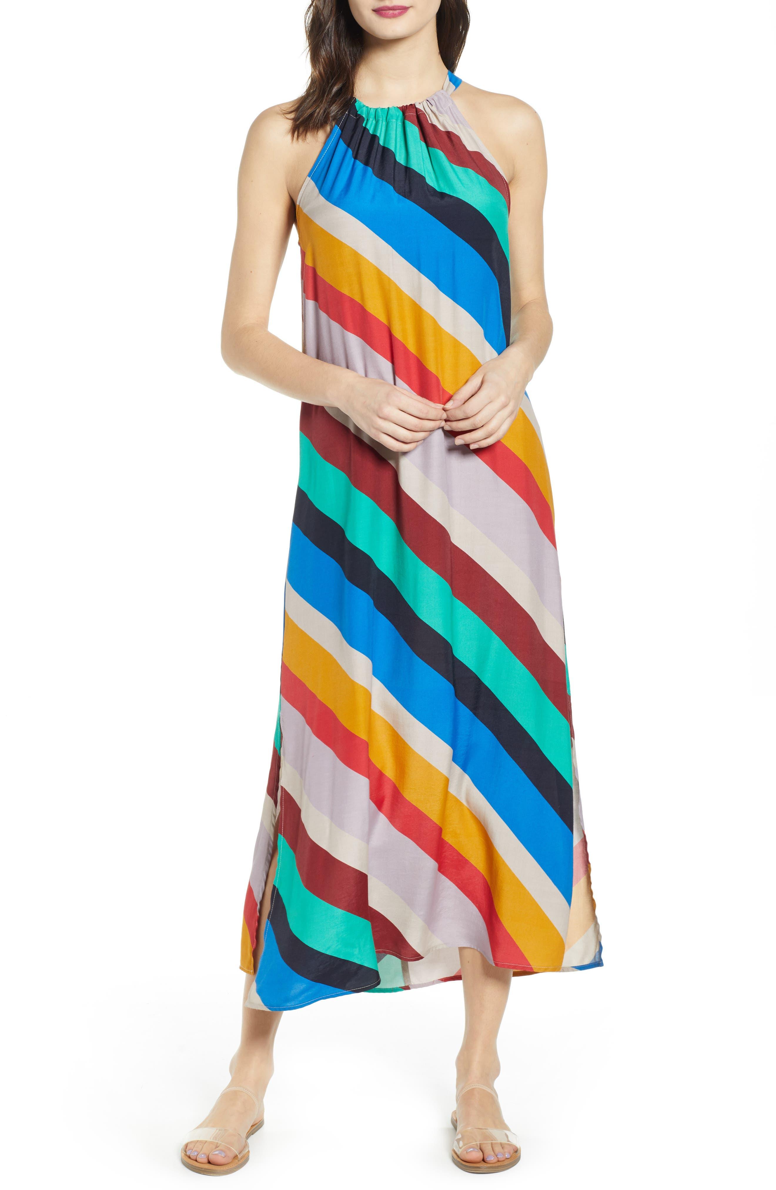 Ten Sixty Sherman Stripe Halter Maxi Dress, Blue