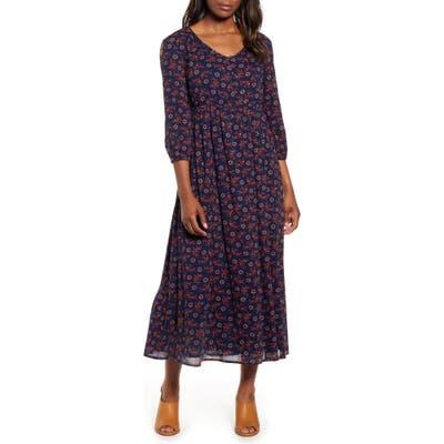 Caslon Summer Button Front Crepe Maxi Dress, Blue