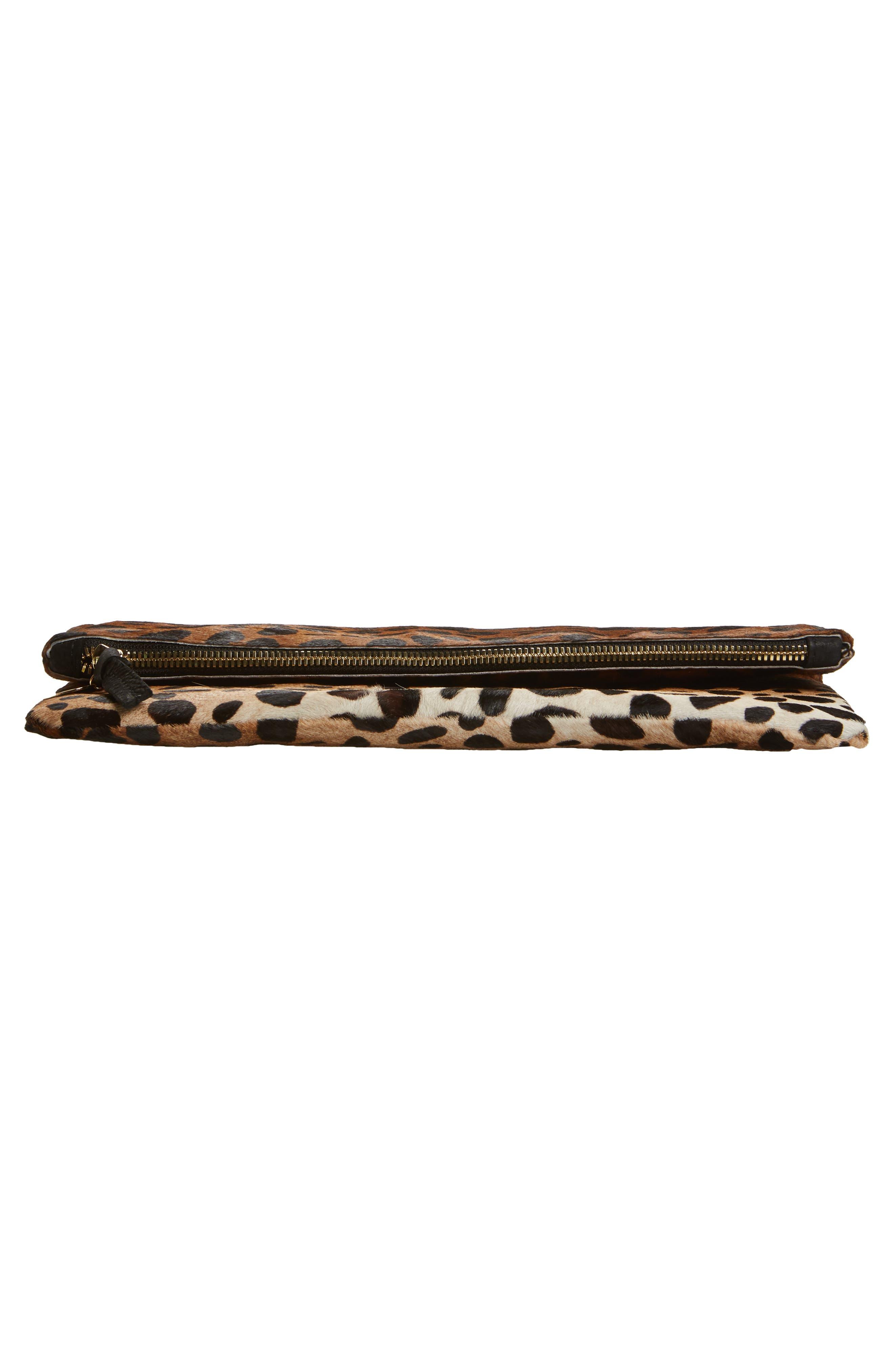 ,                             Genuine Calf Hair Leopard Print Foldover Clutch,                             Alternate thumbnail 6, color,                             203