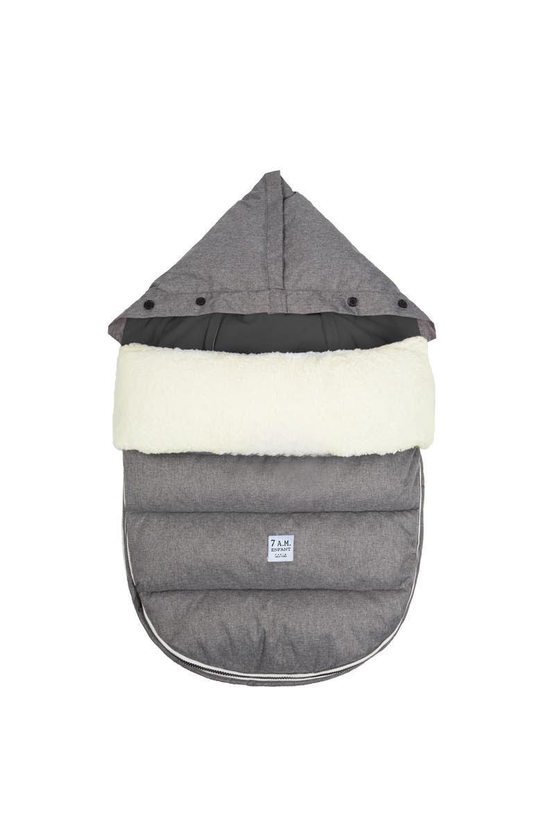 7 A.M. ENFANT LambPOD Water Repellent Faux Shearling Car Seat/Stroller Bunting, Main, color, HEATHER GREY