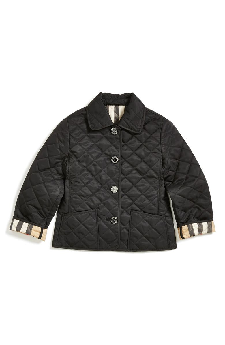 BURBERRY Quilted Check Trim Coat, Main, color, 001