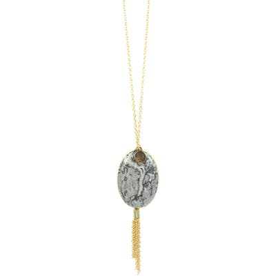 Bourbon And Boweties Agate & Chain Tassel Necklace