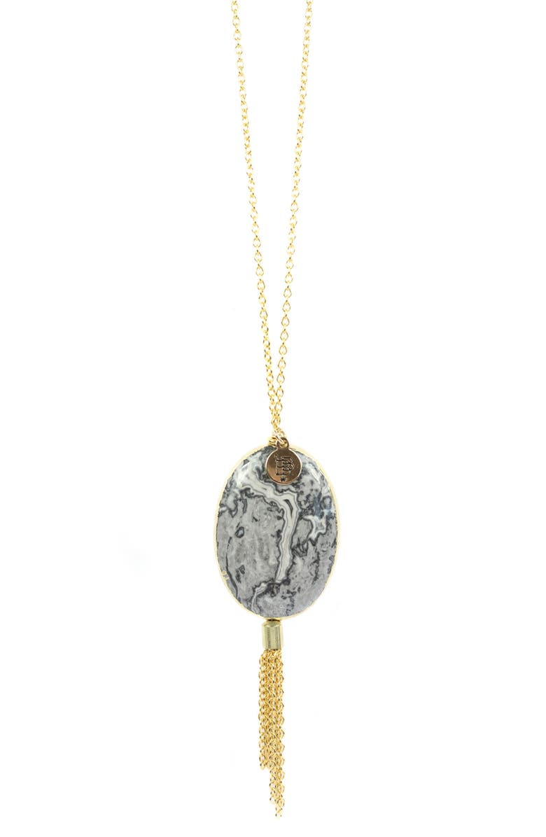 BOURBON AND BOWETIES Agate & Chain Tassel Necklace, Main, color, BLACK/ GOLD AND BLACK/ CREAM