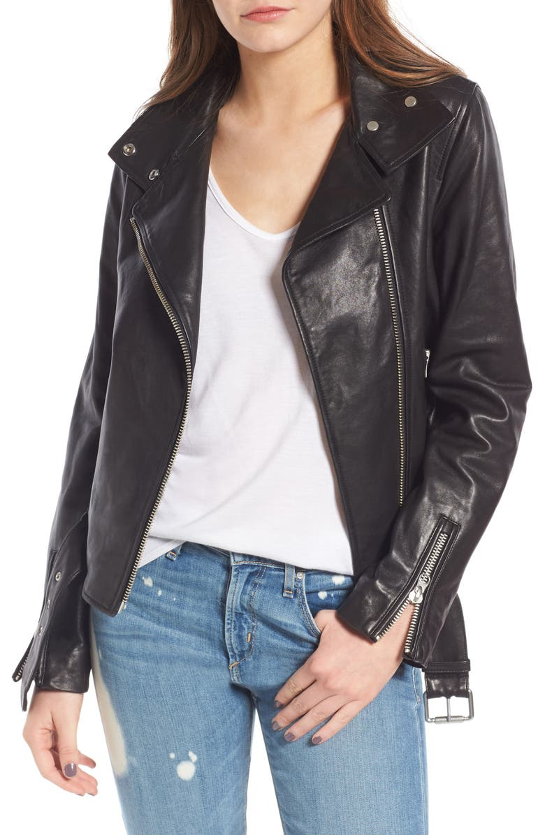 MACKAGE Miela-N Belted Leather Moto Jacket, Main, color, 001