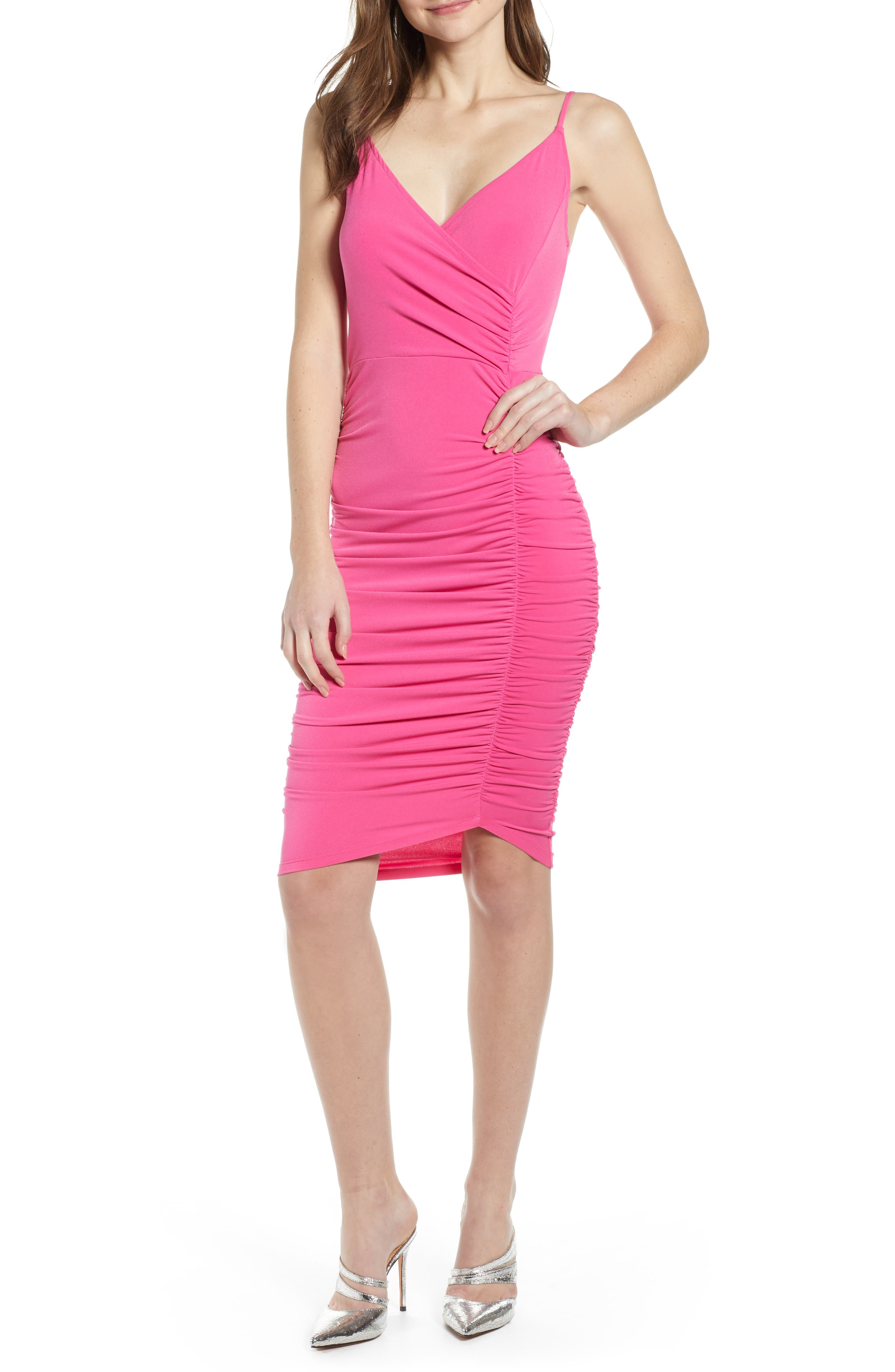 Leith Ruched Bodycon Dress, Pink
