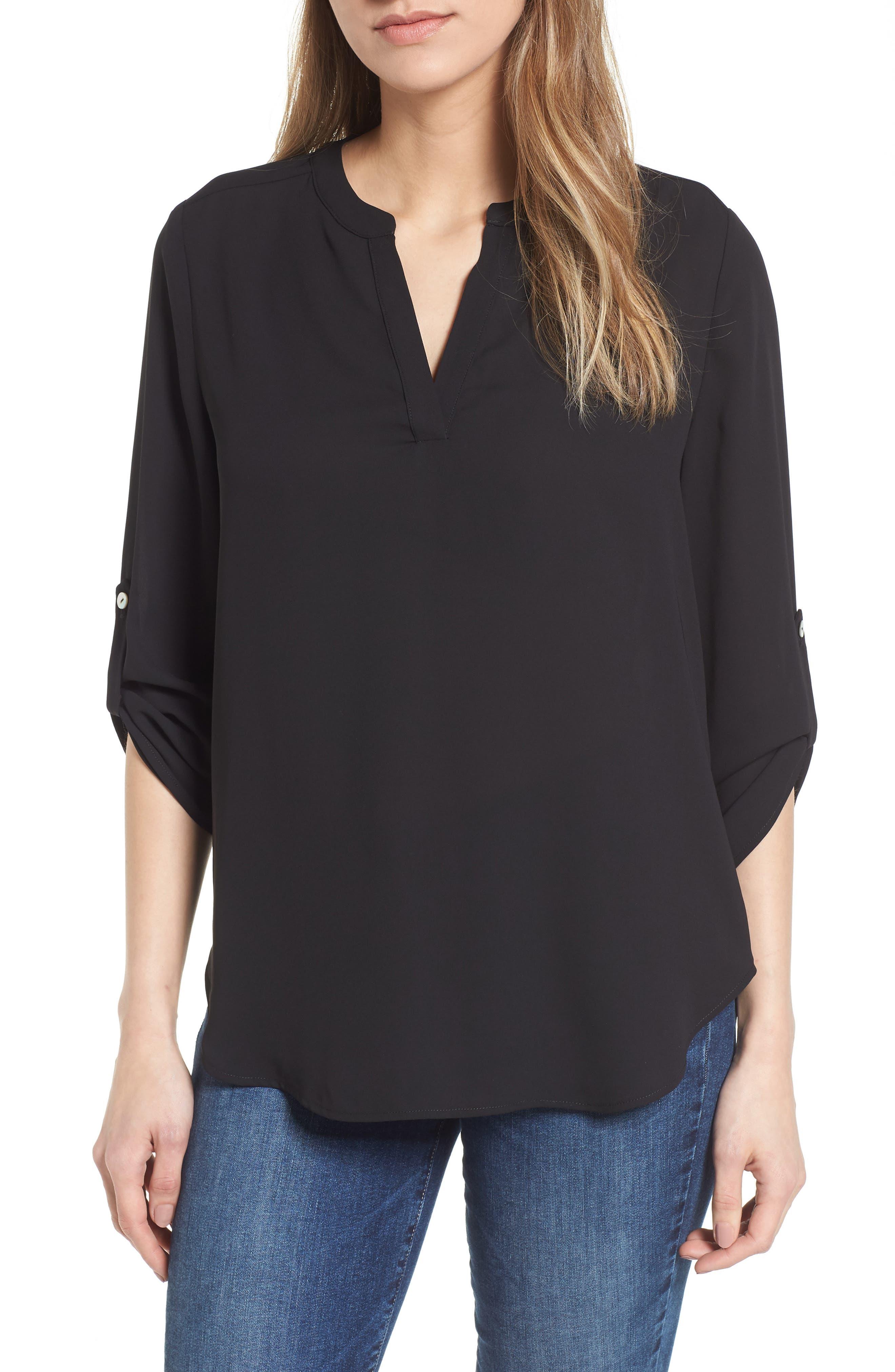 ,                             Roll-Tab Sleeve Tunic,                             Main thumbnail 1, color,                             BLACK